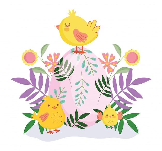 幸せなイースターかわいい鶏色の卵の花葉自然 Premiumベクター