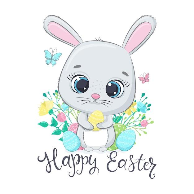 Христос воскрес. милый пасхальный кролик с яйцами. Premium векторы