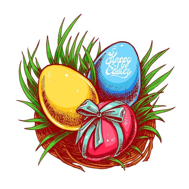 イースター、おめでとう。 3つの異なる色の卵を持つかわいいイースターの巣。手描きイラスト。 Premiumベクター