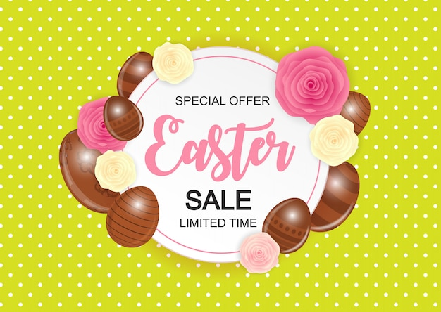 Happy easter cute sale banner with eggs. Premium Vector