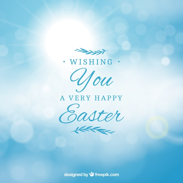 Happy easter day background in blurred style Free Vector