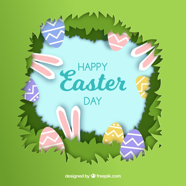 Happy Easter Day Background In Paper Free Vector