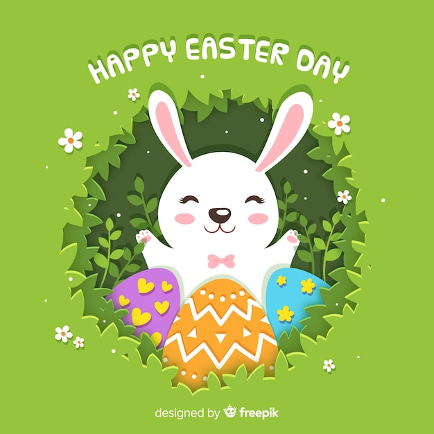Happy easter day background in paper style Free Vector