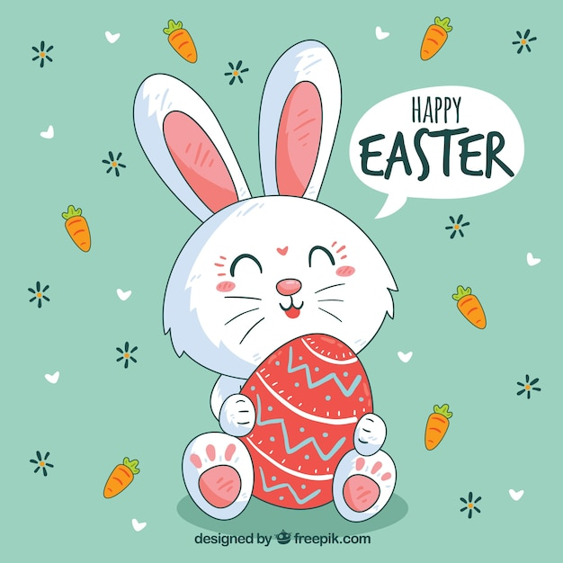 Happy easter day background with cute bunny Free Vector