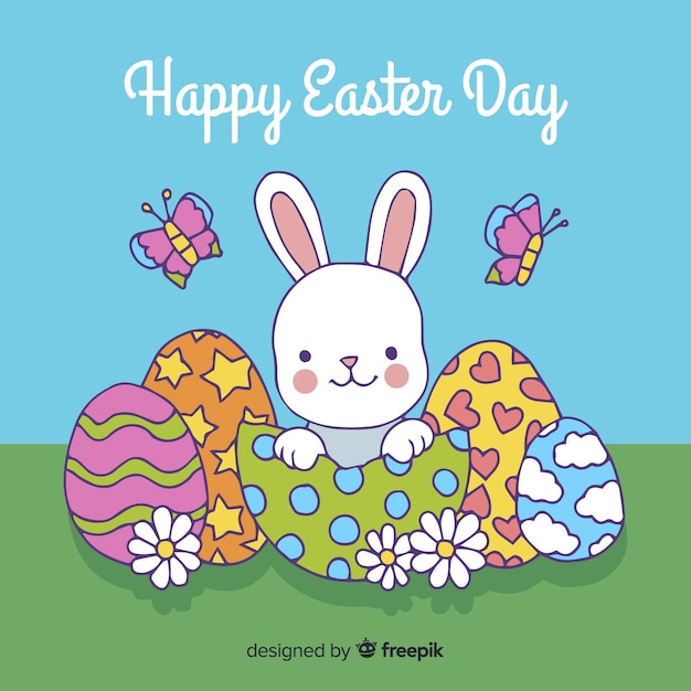 Happy easter day background Free Vector