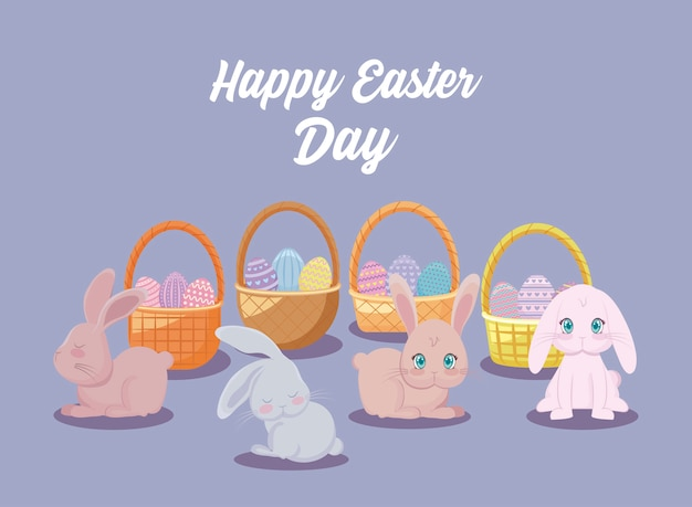 Happy easter day card with cute rabbits and baskets wicker Premium Vector