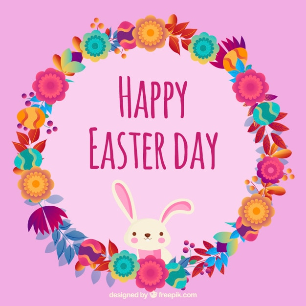 Happy Easter day cute floral wreath