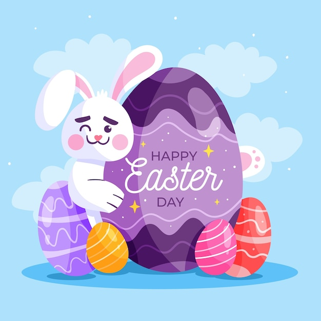 Happy easter day in flat design Free Vector