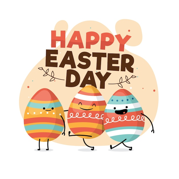 Happy easter day flat style with smiley eggs Free Vector