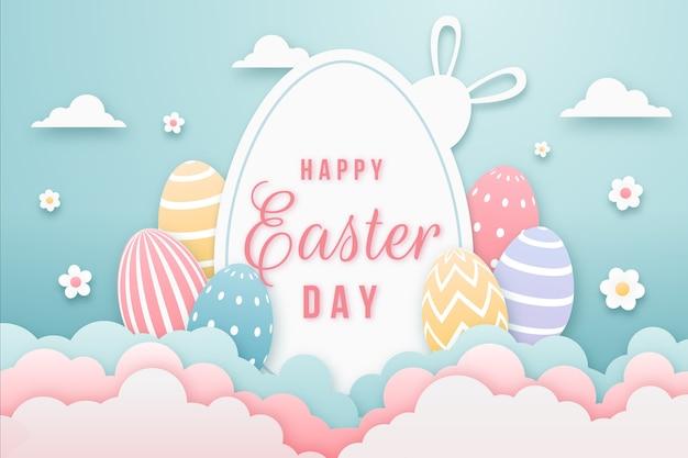 Счастливой пасхи в бумажном стиле с разноцветными яйцами Premium векторы