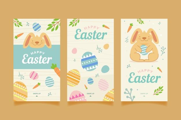 Счастливые пасхальные истории в instagram с яйцами и кроликом Бесплатные векторы