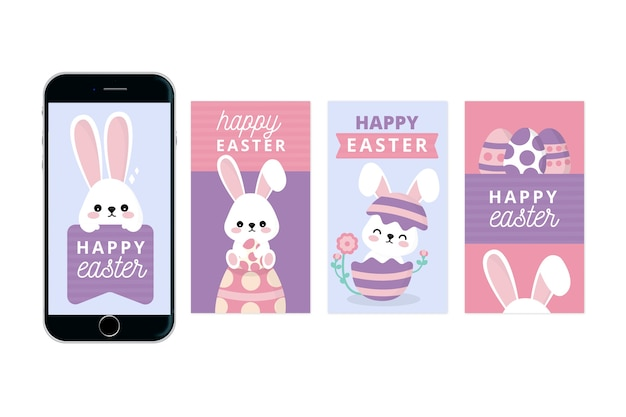 Happy easter day instagram stories with young bunny Free Vector