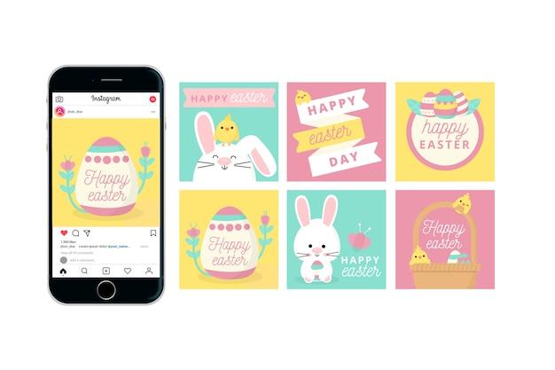 Счастливого пасхального дня instagram со смартфоном Бесплатные векторы