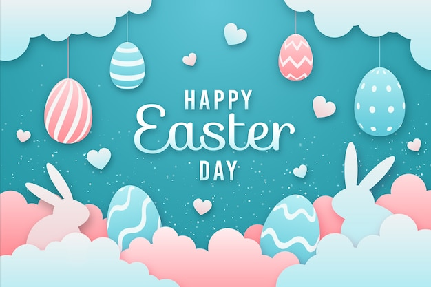 Happy easter day in paper style with colorful eggs Free Vector