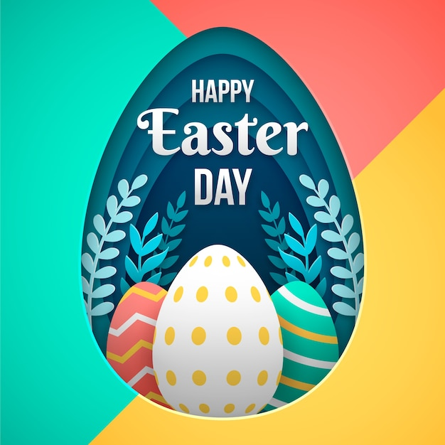 Happy easter day in paper style Free Vector