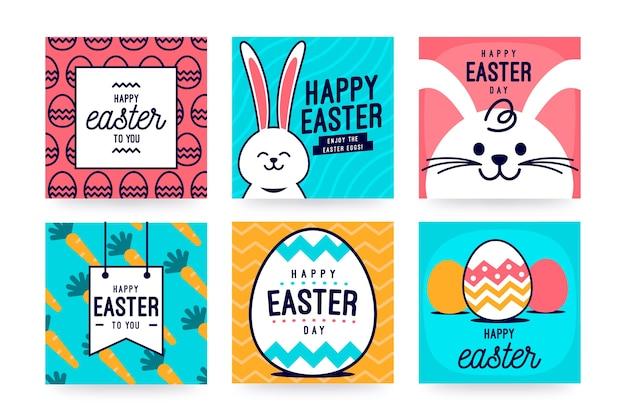 Счастливое пасхальное сообщение в социальных сетях с яйцами и белым кроликом Бесплатные векторы