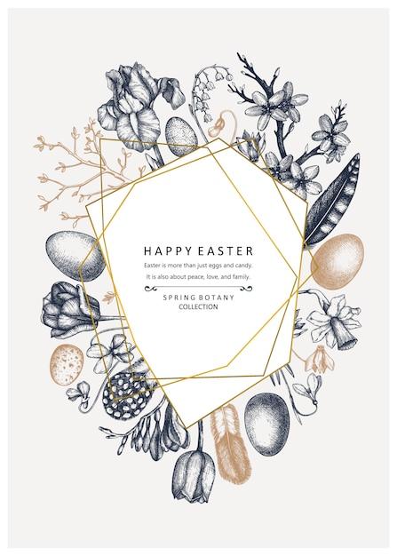 幸せなイースターの日。春のバナーデザイン、グリーティングカードや招待状のトレンディなコラージュ。手描きの春のイラスト。金箔装飾が施されたビンテージイースターテンプレート。花のアート。 Premiumベクター