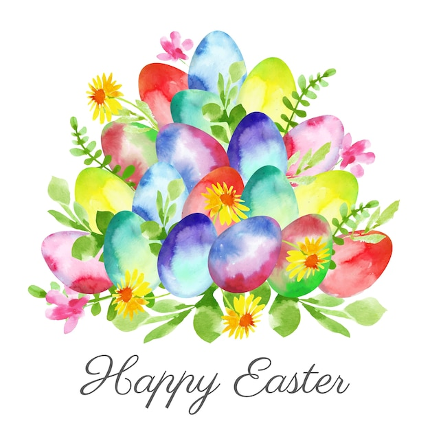 Happy easter day watercolor design Free Vector