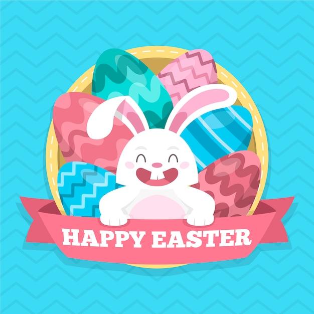 Счастливого пасхального дня с очаровательным кроликом Бесплатные векторы