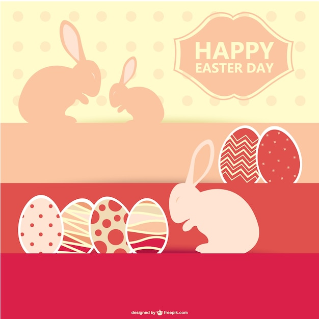 Happy Easter Day With Bunnies And Eggs Vector  Free Download