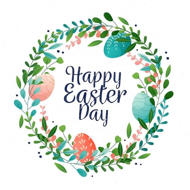 Счастливого пасхального дня с красочными яйцами и венком Бесплатные векторы