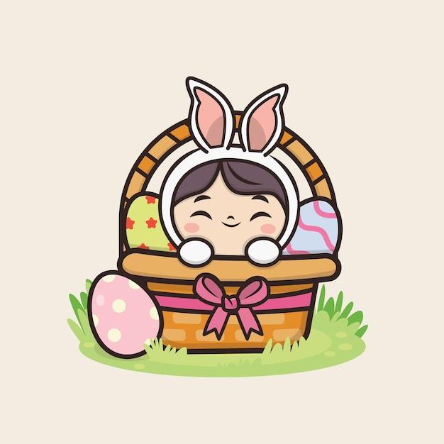 かわいいウサギのイラストでハッピーイースターの日 Premiumベクター