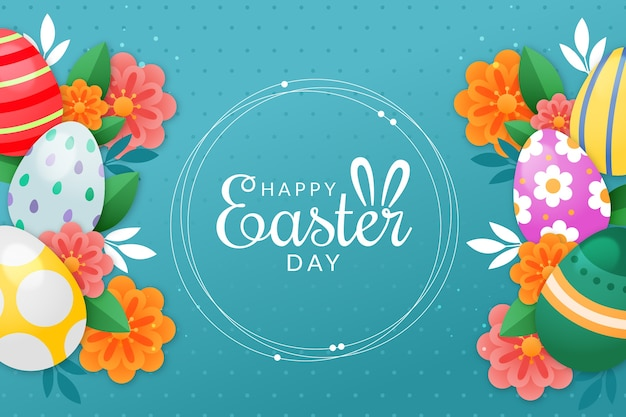 Happy easter day with eggs and flowers Free Vector