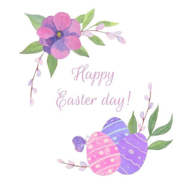Счастливого пасхального дня с цветами Бесплатные векторы
