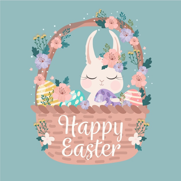 Happy easter day with rabbit in a basket Free Vector