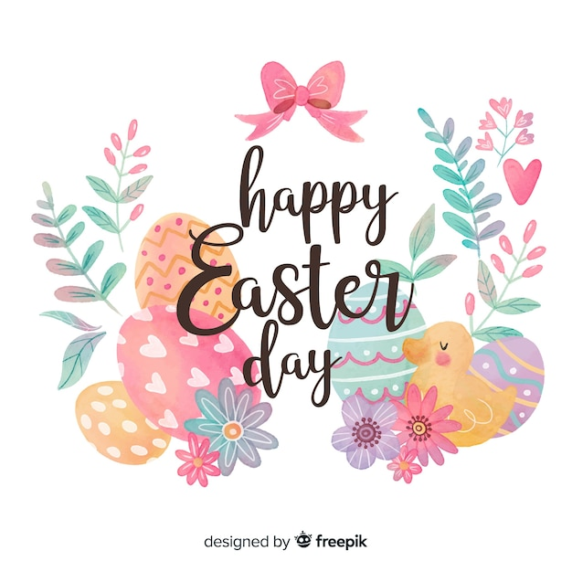 Happy easter day Free Vector