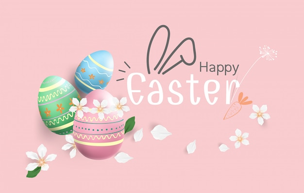 Happy easter eggs colourful background Premium Vector