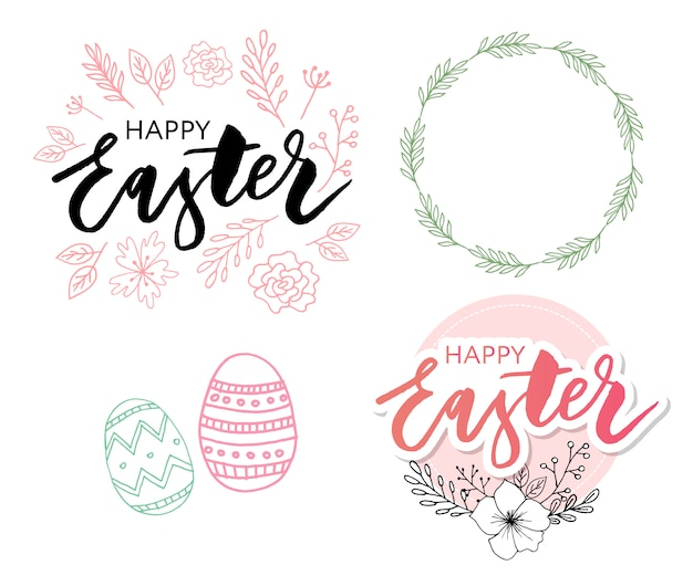 Happy easter eggs composition set Premium Vector
