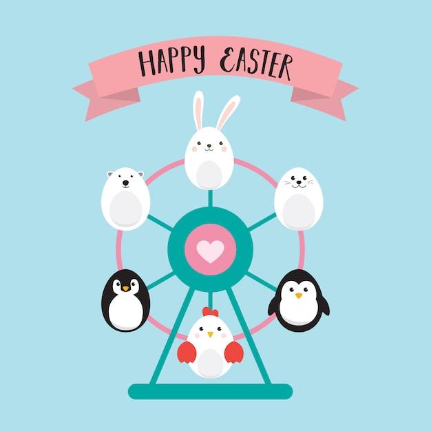 Happy easter eggs with ferris wheel . Premium Vector