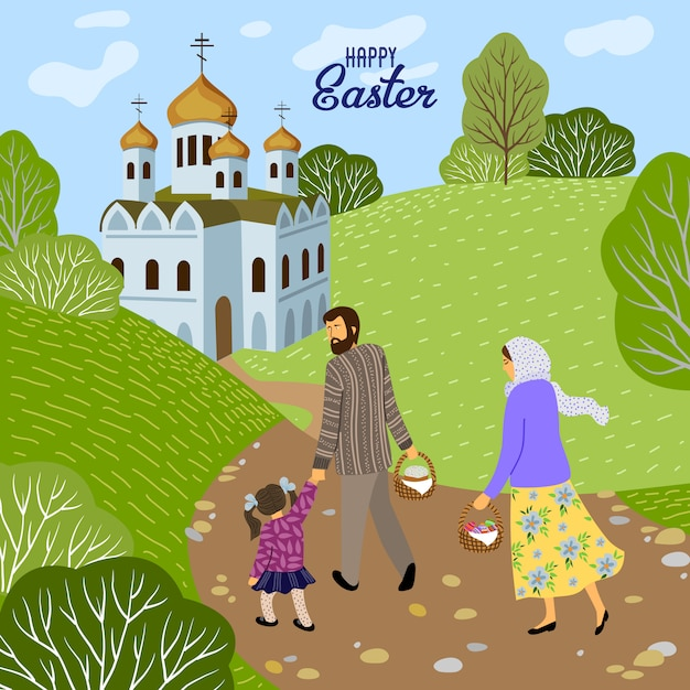 Happy easter. family with a child going to an orthodox church to consecrate eggs and cakes. Premium Vector