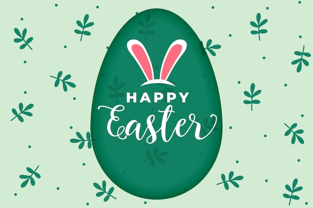 Happy easter festival card with rabbit ears Free Vector