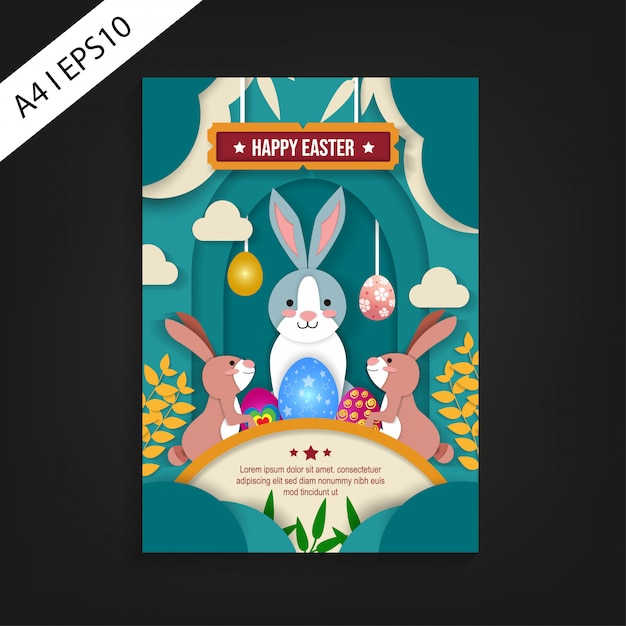 Happy easter flyer template with paper cut design Vector
