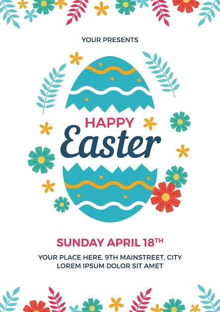 Happy Easter Flyer Template Vector Premium Download