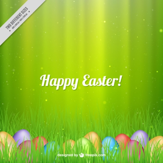 Happy Easter green background Free Vector