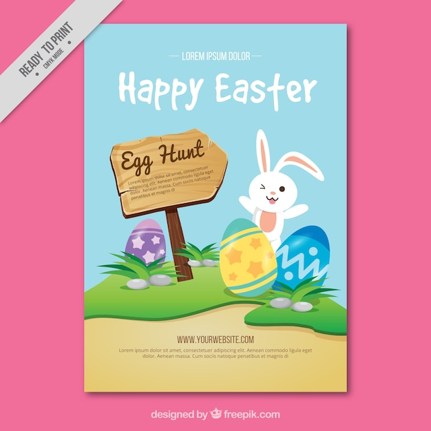 Happy easter greeting card with bunny and wooden sign Free Vector