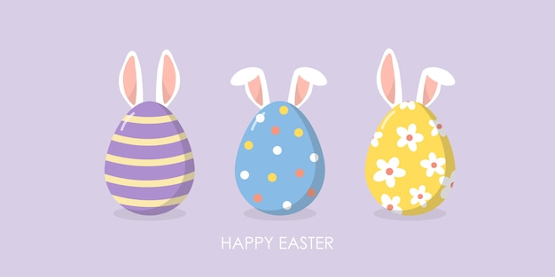 Happy easter greeting card with cute ears of bunny and eggs. Premium Vector