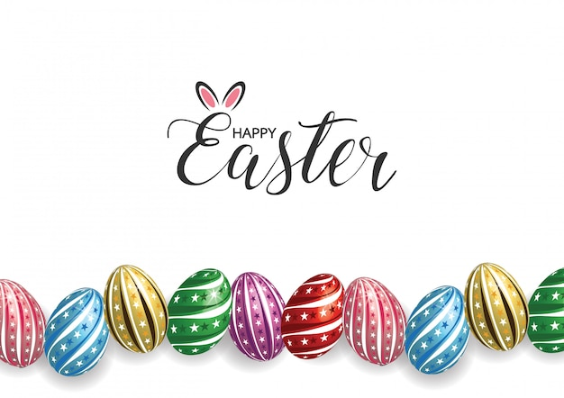 Happy easter greeting card Premium Vector