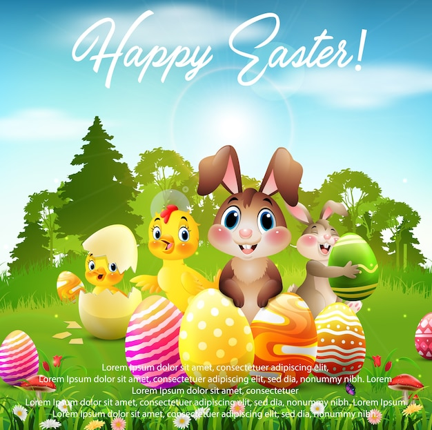 Happy easter greeting poster Premium Vector