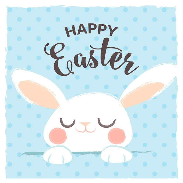 Happy easter greeting with cute rabbit Free Vector