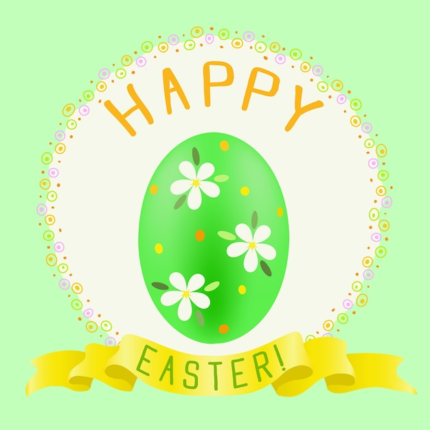 Happy easter greeting with green painted egg and golden ribbon Premium Vector