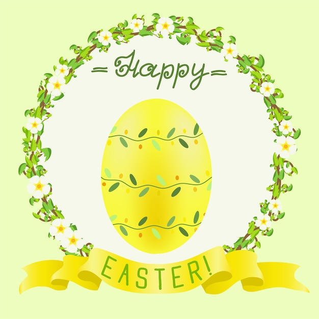 Happy easter greeting with yellow painted egg and golden ribbon Premium Vector