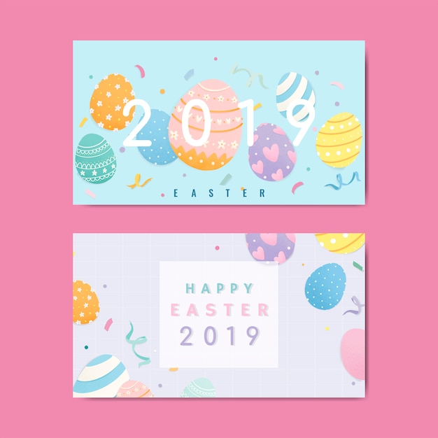 Happy easter  greetings card vector Free Vector