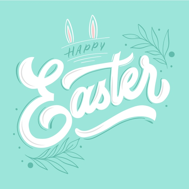 Happy easter in hand drawn Free Vector