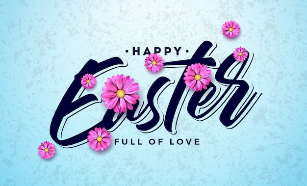 Happy easter holiday design with colorful spring flower Premium Vector