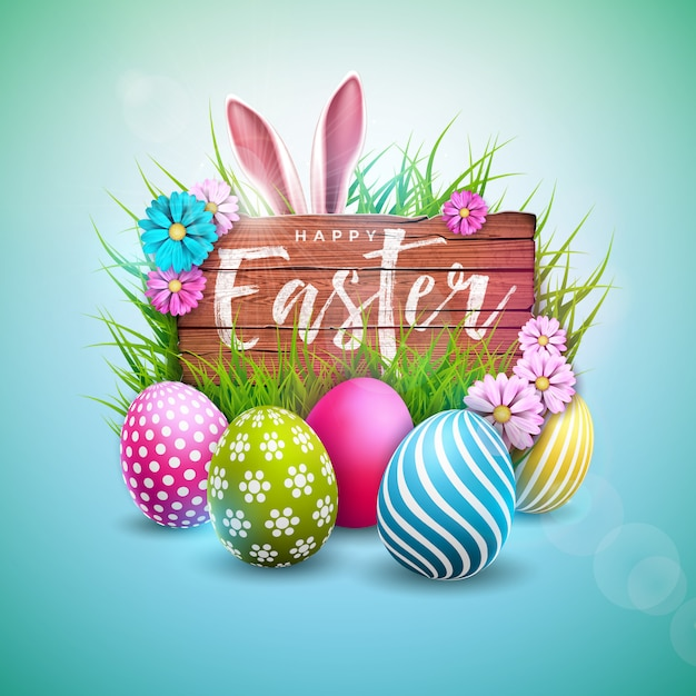 Happy easter holiday design with painted egg and rabbit ears ...