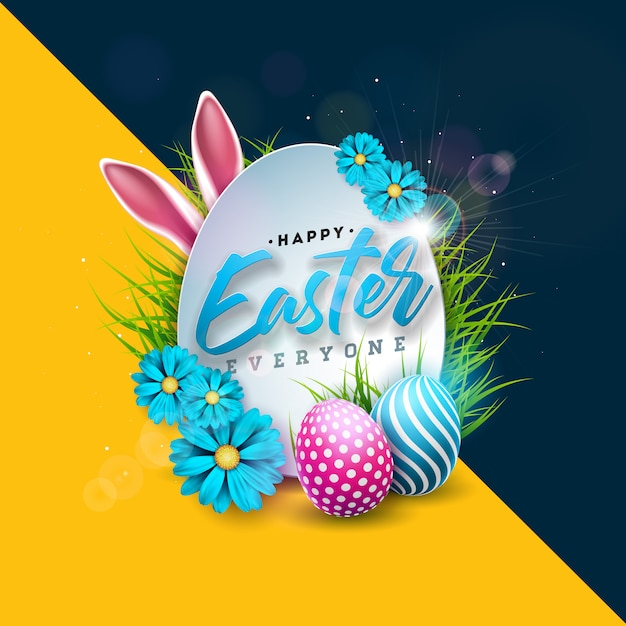 Happy easter holiday design with painted egg Premium Vector